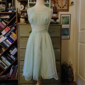 Vintage Shadowline mint slip dress, lace detail